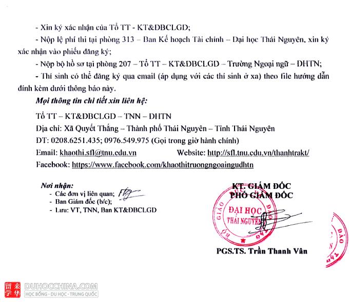 Lịch thi HSK và HSKK 2021 tại Đại học Thái Nguyên